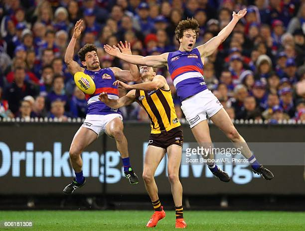 Liam Picken of the Bulldogs is pushed by Isaac Smith of the Hawks and recieves a free kick as he competes for the ball with Tom Liberatore of the...