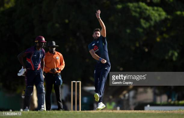 Liam Plunkett of England bowls during the One Day Tour Match between England and The University of West Indies Vice Chancellor's XI at Three Ws Oval...