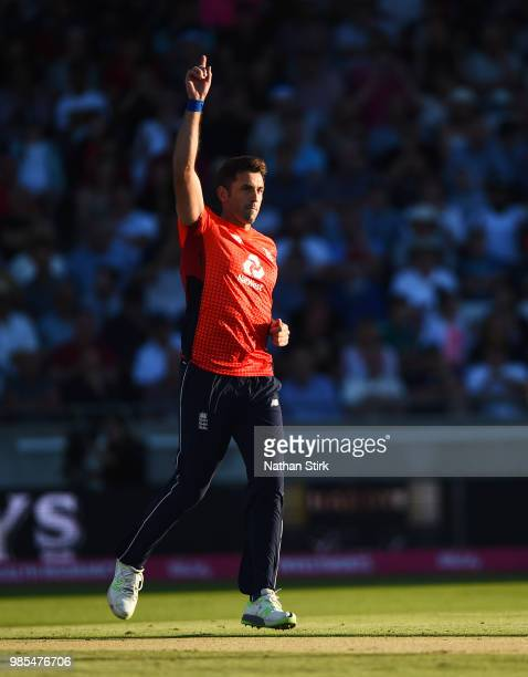 Liam Plunkett of England celebrates as he gets D'Arcy Short of Australia out during the 1st Vitality International T20 match between England and...