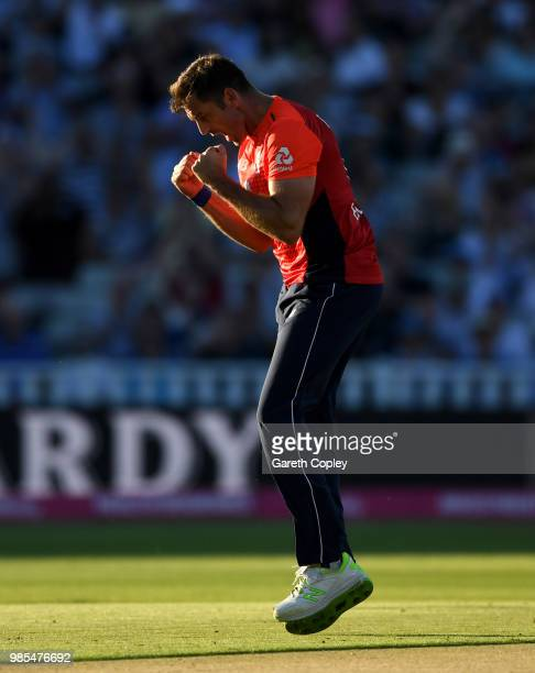 Liam Plunkett of England celebrates dismissing D'Arcy Short of Australia during the Vitality International T20 between England and Australia at...