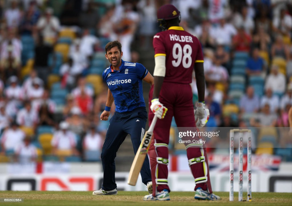 Liam Plunkett of England celebrates dismissing Jason Holder of the West Indies during the 3rd One Day International between the West Indies and England at Kensington Oval on March 9, 2017 in Bridgetown, Barbados.