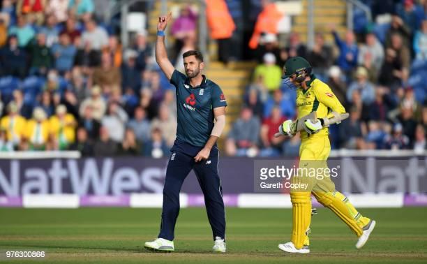 Liam Plunkett of England celebrates dismissing Jhye Richardson of Australia to win the 2nd Royal London ODI between England and Australia at SWALEC...