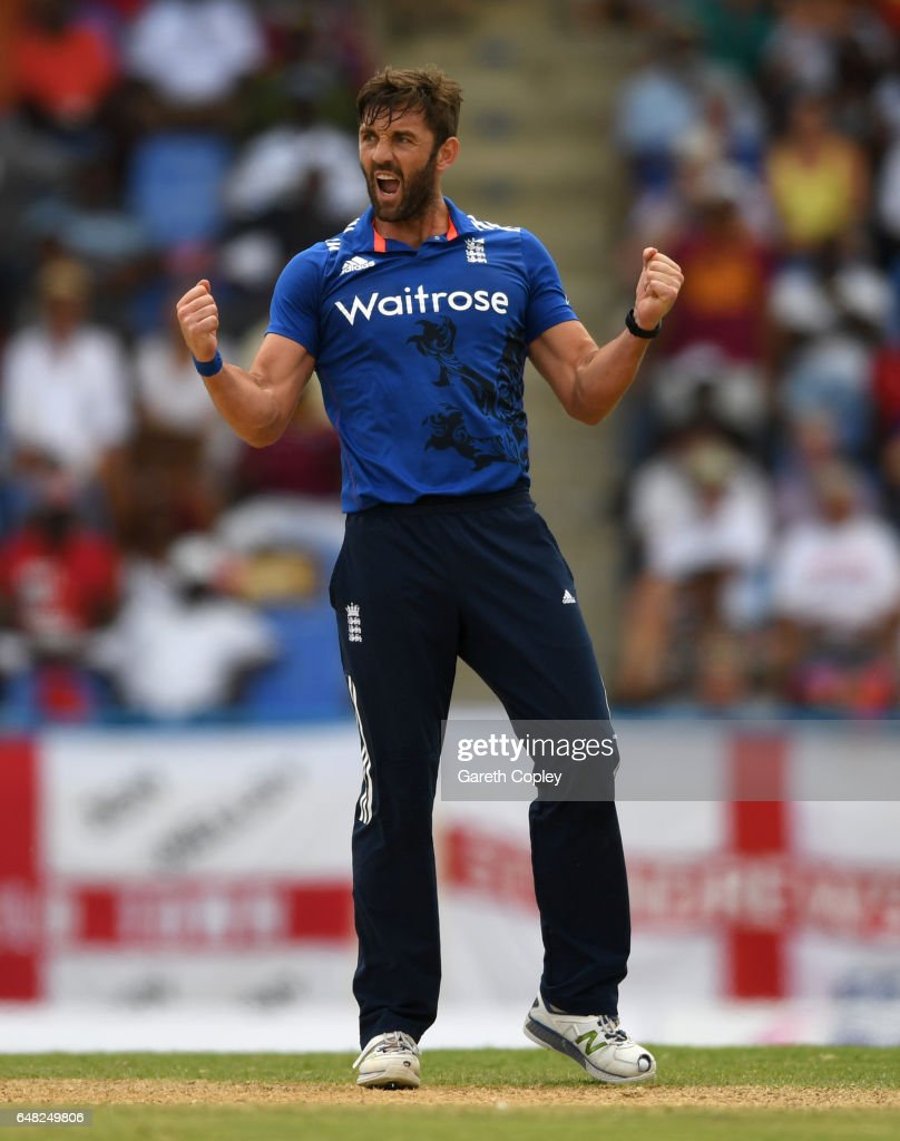 Liam Plunkett of England celebrates dismissing Jonathan Carter of the West Indies during the 2nd One Day International match between the West Indies and England at Sir Vivian Richards Cricket Ground on March 5, 2017 in St John's, Antigua And Barbuda