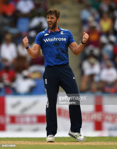 Liam Plunkett of England celebrates dismissing Jonathan Carter of the West Indies during the 2nd One Day International match between the West Indies...