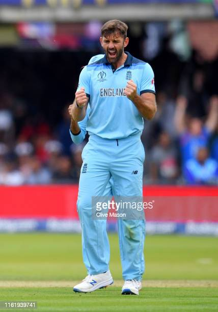 Liam Plunkett of England celebrates dismissing Kane Williamson of New Zealand during the Final of the ICC Cricket World Cup 2019 between New Zealand...