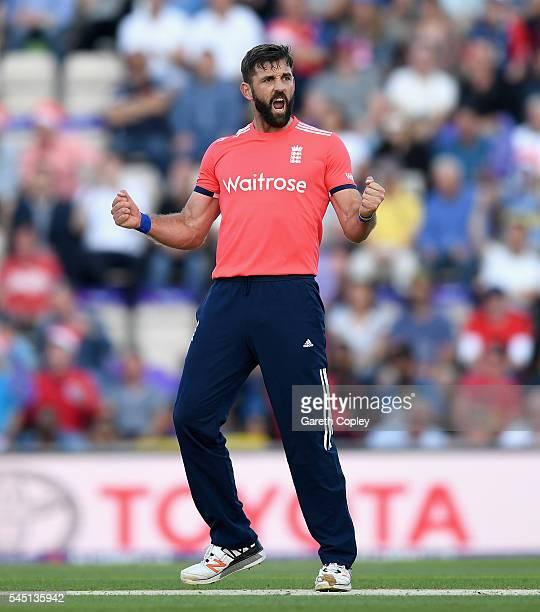 Liam Plunkett of England celebrates dismissing Kusal Perera of Sri Lanka during the Natwest International T20 match between England and Sri Lanka at...