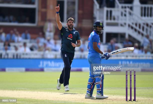 Liam Plunkett of England celebrates dismissing Lokesh Rahul of India during the 2nd ODI Royal London OneDay match between England and India at Lord's...