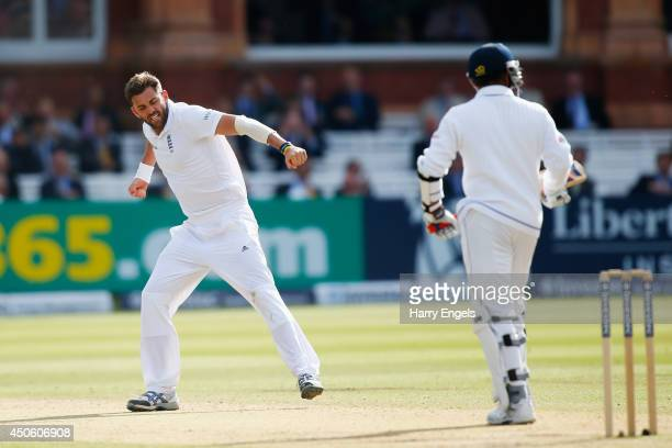 Liam Plunkett of England celebrates dismissing Prasanna Jayawardene of Sri Lanka during day three of the 1st Investec Test match between England and...
