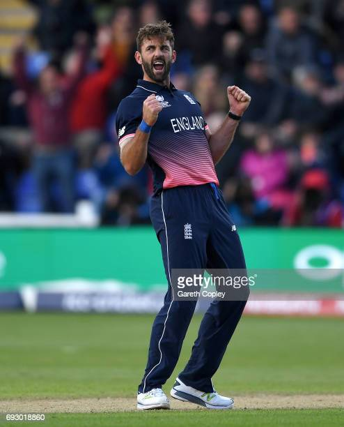 Liam Plunkett of England celebrates dismssing James Neesham of New Zealand during the ICC Champions Trophy match between England v New Zealand at...