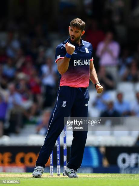 Liam Plunkett of England celebrates taking the wicket of Imrul Kayes of Bangladesh during the ICC Champions Trophy Group A match between England and...