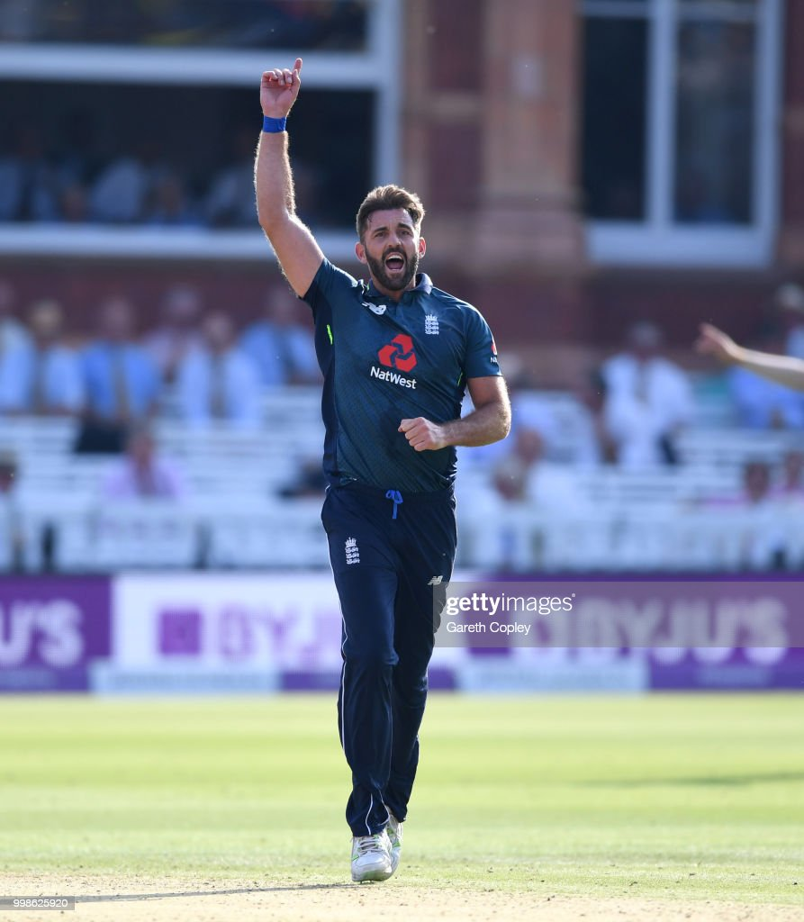 Liam Plunkett of England dismissing Hardik Pandya of India during the 2nd ODI Royal London One-Day match between England and India at Lord's Cricket Ground on July 14, 2018 in London, England.