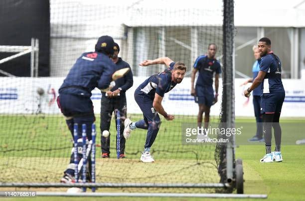 Liam Plunkett of England during the open nets training session at Malahide Cricket Club on May 2 2019 in Dublin Ireland England will play Ireland in...