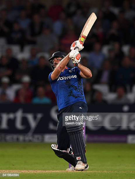 Liam Plunkett of England hits six runs from the final ball to tie the 1st ODI Royal London One Day match between England and Sri Lanka at Trent...
