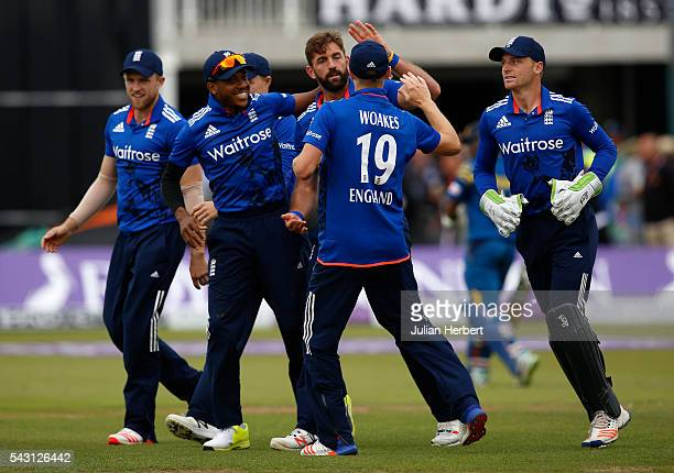 Liam Plunkett of England is congratulated by team mates after the wicket of Seekuge Prasanna of Sri Lanka during The 3rd ODI Royal London OneDay...
