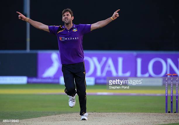 Liam Plunkett of Yorkshire celebrates a wicket during the Royal London OneDay Cup Quarter Final match between Essex and Yorkshire at The Essex County...