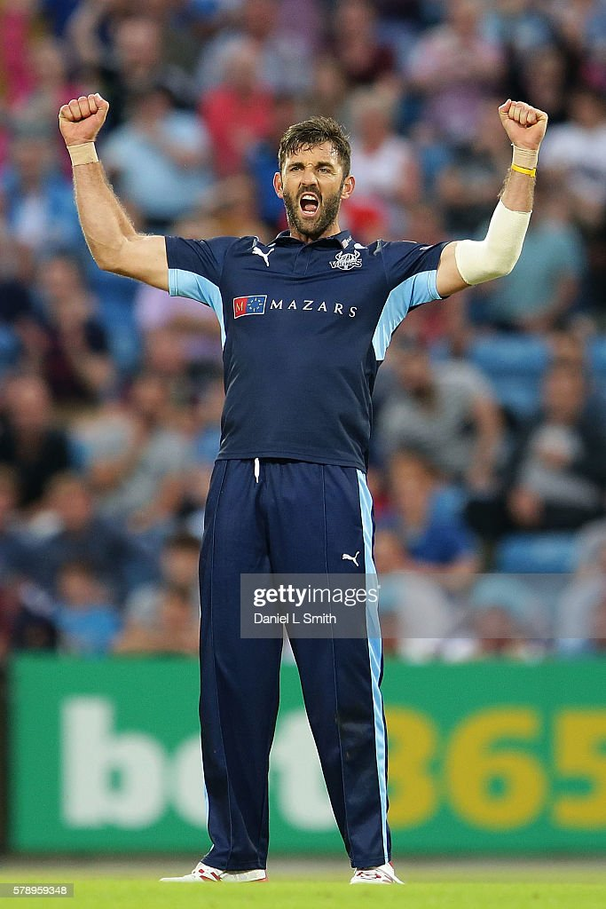 Liam Plunkett of Yorkshire celebrates the dismissal of Adam Rossington of Northampton during the NatWest T20 Blast match between Yorkshire Vikings and Nothamptonshire Steelbacks at Headingley on July 22, 2016 in Leeds, England.