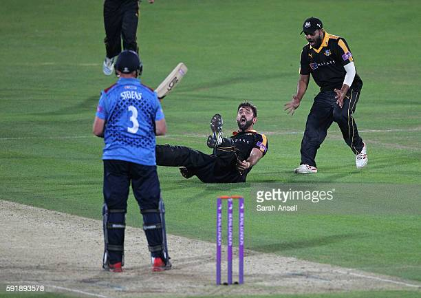 Liam Plunkett of Yorkshire celebrates with Azeem Rafiq after catching Darren Stevens off his own bowling during the Royal London OneDay Cup quarter...