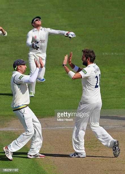 Liam Plunkett of Yorkshire celebrates with his captain Andrew Gale after dismissing Chris Nash of Sussex, caught by wicketkeeper Johnny Bairstow...