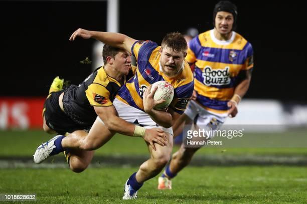 Liam Polwart of Bay of Plenty makes a break during the round one Mitre 10 Cup match between Bay of Plenty and Taranaki at Rotorua International...