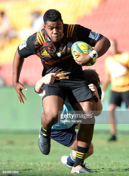 Liam Polwart of the Chiefs breaks away from the defence during the Rugby Global Tens match between the Chiefs and Waratahs at Suncorp Stadium on...