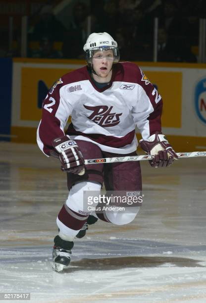 Liam Reddox of the Peterborough Petes in action against the Kitchener Rangers at Peterborough Memorial Centre on January 27 2005 in Peterborough...