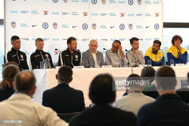 Liam Reddy Andy Keogh and Tony Popovic of the Glory together with Maurizio Sarri Cesc Fabregas and David Luiz of Chelsea address the media during a...