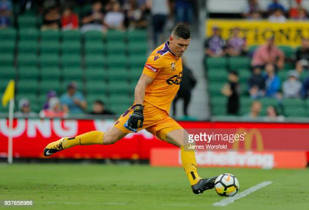 Liam Reddy kicks the ball out during the round 24 ALeague match between the Perth Glory and the Melbourne Victory at nib Stadium on March 25 2018 in...