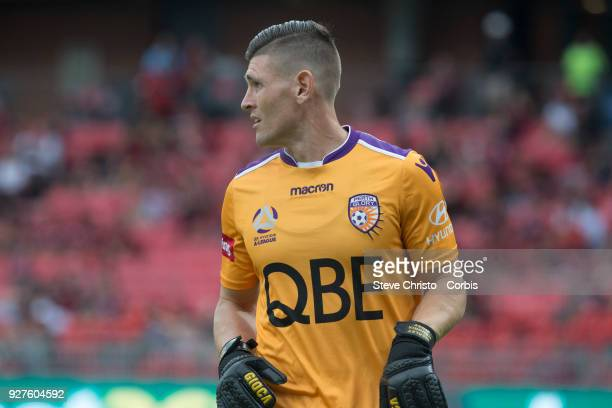 Liam Reddy of Glory walks to field the ball during the round 23 ALeague match between the Western Sydney Wanderers and Perth Glory at Spotless...