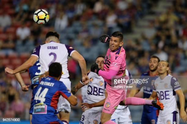 Liam Reddy of Perth Glory makes a save during the round 26 ALeague match between the Newcastle jets and the Perth Glory at McDonald Jones Stadium on...