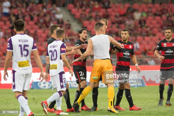 Liam Reddy of Perth Glory shows emotion towards Wanderers players after he received a red card during the round 23 ALeague match between the Western...