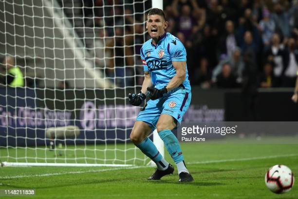 Liam Reddy of the Glory celebrates after saving a penalty kick during the ALeague Semi Final match between the Perth Glory and Adelaide United at HBF...