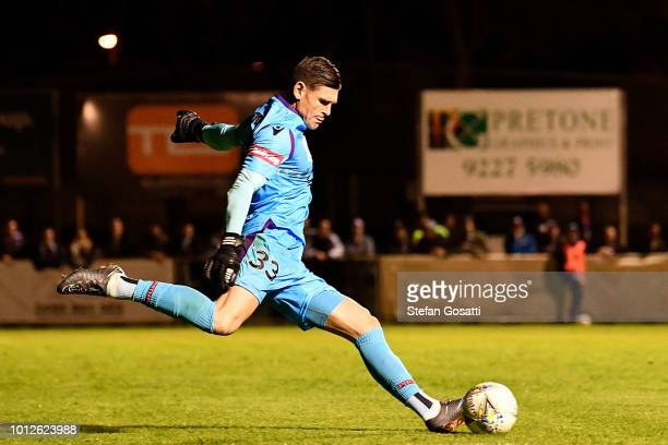 Liam Reddy of the Glory kicks the ball during the FFA Cup round of 32 match between Perth Glory and Melbourne Victory at Dorrien Gardens on August 7...