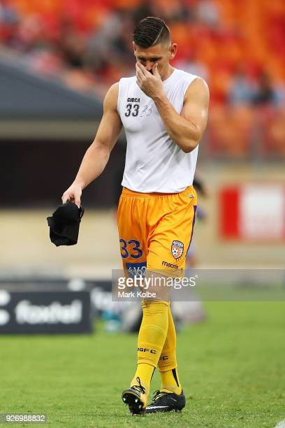 Liam Reddy of the Glory looks dejected as he leaves the field after he was sent off during the round 23 ALeague match between the Western Sydney...