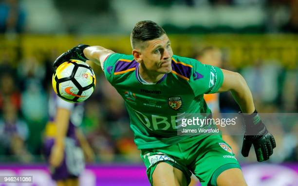 Liam Reddy of the Perth Glory clears the ball from a throw out during the round 27 ALeague match between the Perth Glory and the Brisbane Roar at nib...