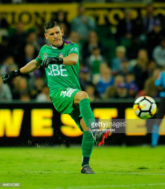 Liam Reddy of the Perth Glory kick the ball across too his players during the round 27 ALeague match between the Perth Glory and the Brisbane Roar at...