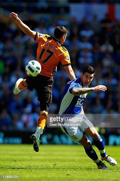 Liam Ridgewell of Birmingham and Matt Jarvis of Wolves battle for the ball during the Barclays Premier League match between Birmingham City and...