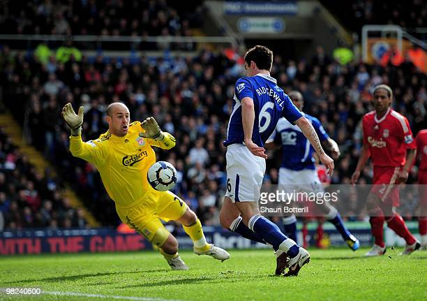 Liam Ridgewell of Birmingham City scores past Liverpool goalkeeper Pepe Reina during the Barclays Premier League match between Birmingham City and...