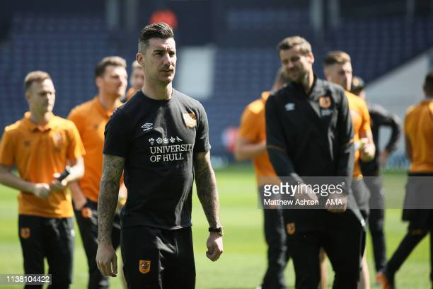 Liam Ridgewell of Hull City during the Sky Bet Championship fixture between West Bromwich Albion v Hull City at The Hawthorns on April 19 2019 in...