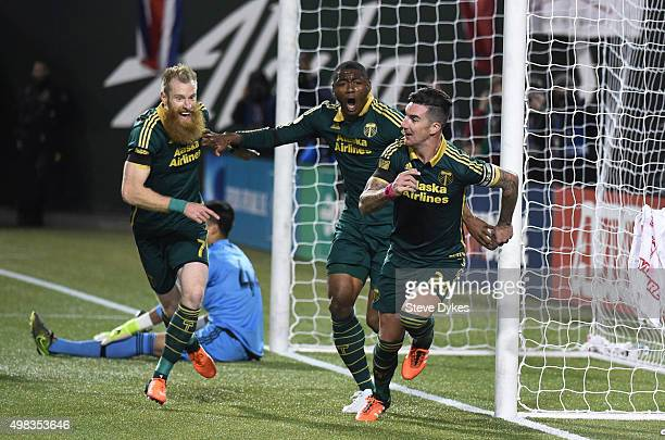 Liam Ridgewell of Portland Timbers celebrates after scoring a goal during the first half of the match against the FC Dallas at Providence Park on...