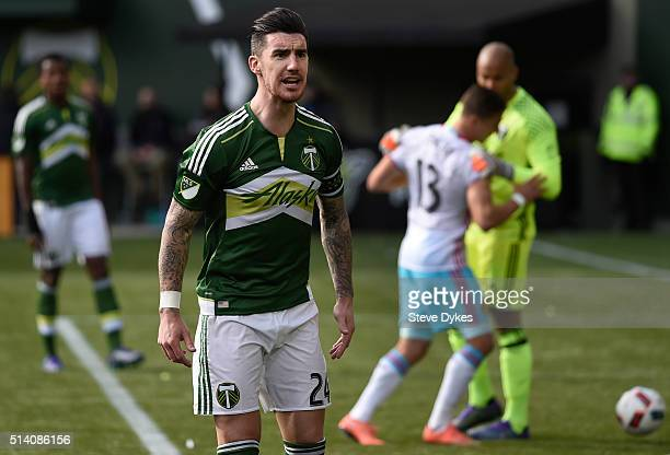 Liam Ridgewell of Portland Timbers has some words with the side judge during the second half of the game against the Columbus Crew at Providence Park...