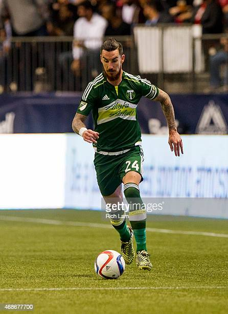Liam Ridgewell of the Portland Timbers runs with the ball in MLS action against the Vancouver Whitecaps FC on March 28 2015 at BC Place Stadium in...