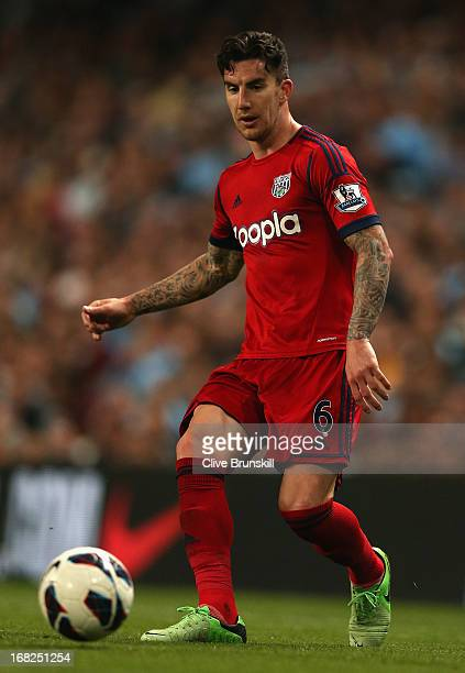 Liam Ridgewell of West Bromwich Albion in action during the Barclays Premier League match between Manchester City and West Bromwich Albion at the...