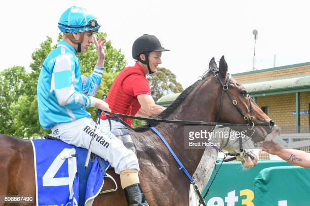 Liam Riordan returns to the mounting yard on Cool Runnings after winning the GCD Constructions BM58 Handicap at Yarra Valley Racecourse on December...
