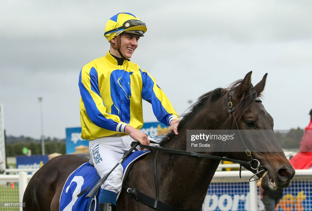 Liam Riordan returns to the mounting yard on Wrecking Ball after winning Hygain Winners Choice BM58 Handicap, at Sportsbet-Ballarat Racecourse on October 05, 2017 in Ballarat, Australia.