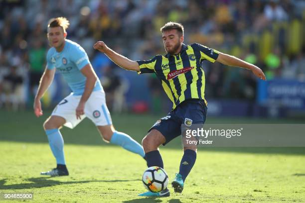 Liam Rose of the Mariners controls the ball during the round 16 ALeague match between the Central Coast Mariners and Melbourne City at Central Coast...