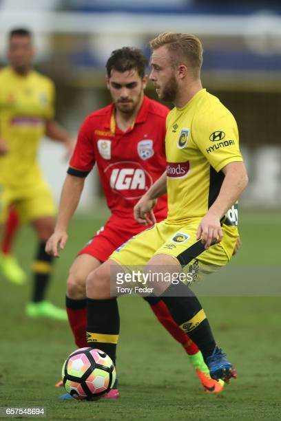Liam Rose of the Mariners controls the ball during the round 24 A-League match between Central Coast Mariners and Adelaide United at Central Coast...