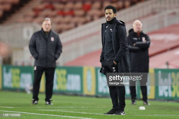 Liam Rosenior, 1 of 4 temporary managers of Derby County looks on during the Sky Bet Championship match between Middlesbrough and Derby County at...