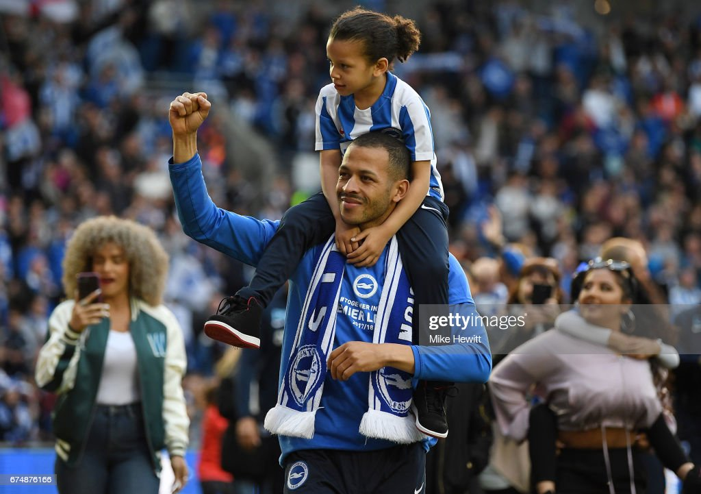 Liam Rosenior of Brighton and Hove Albion salutes the fans after the Sky Bet Championship match between Brighton & Hove Albion and Bristol City at Amex Stadium on April 29, 2017 in Brighton, England.