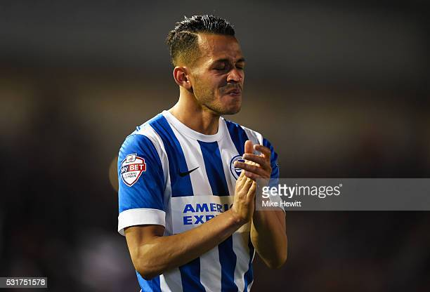 Liam Rosenior of Brighton and Hove Albion shows his emotions after the Sky Bet Championship Play Off semi final second leg match between Brighton &...