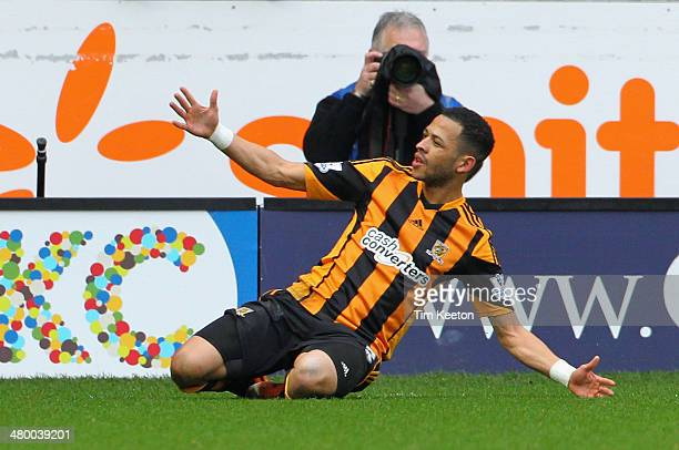 Liam Rosenior of Hull City celebrates scoring the first goal during the Barclays Premier League match between Hull City and West Bromwich Albion at...